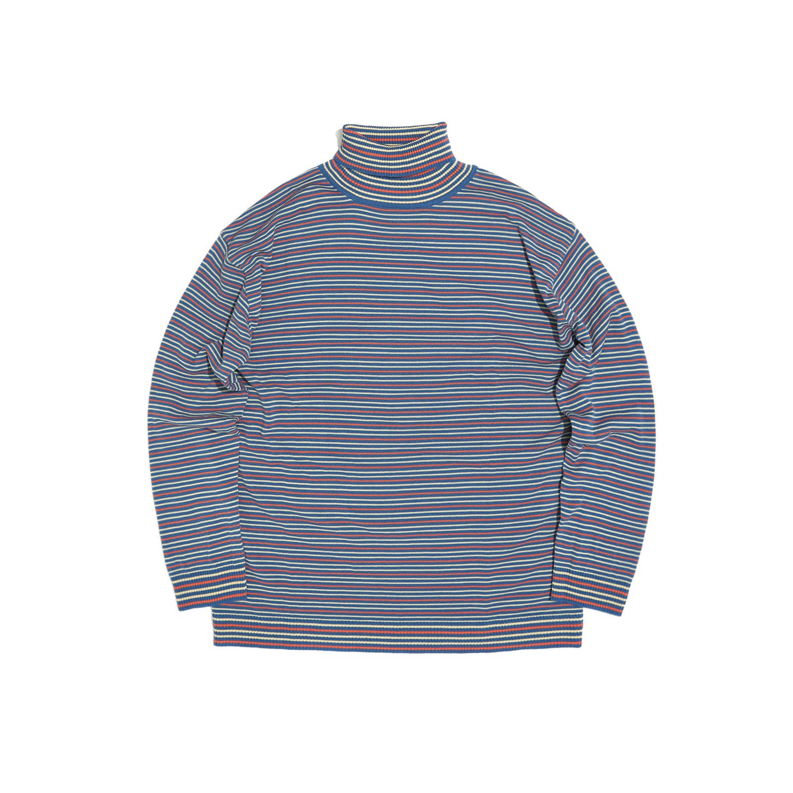 STRIPED KNIT TURTLENECK (BLUE)
