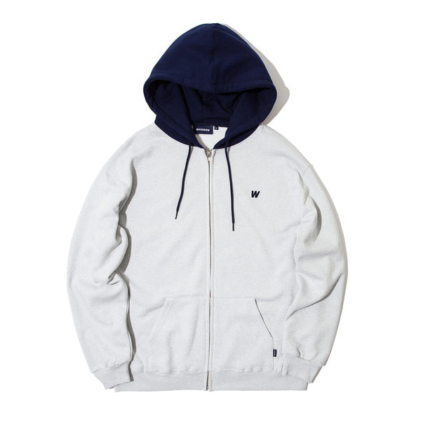 W LOGO HOODED ZIP JK (GREY)