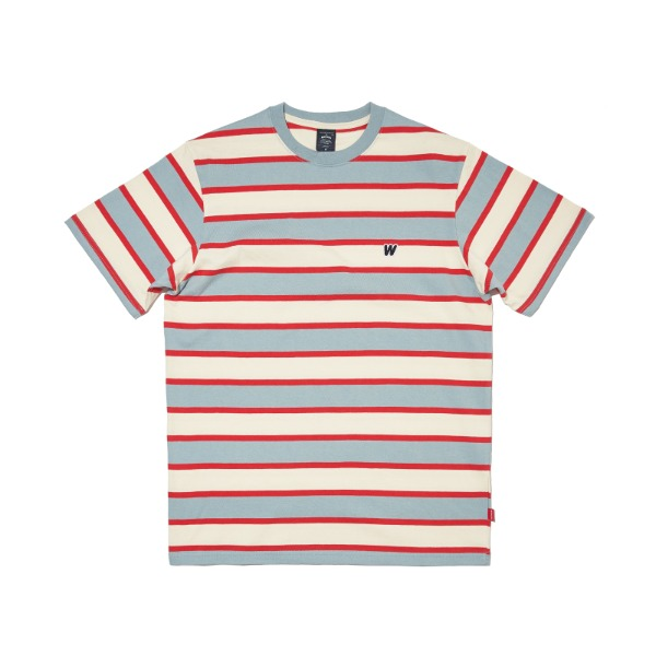 STRIPED W SS T-SHIRT (RED)