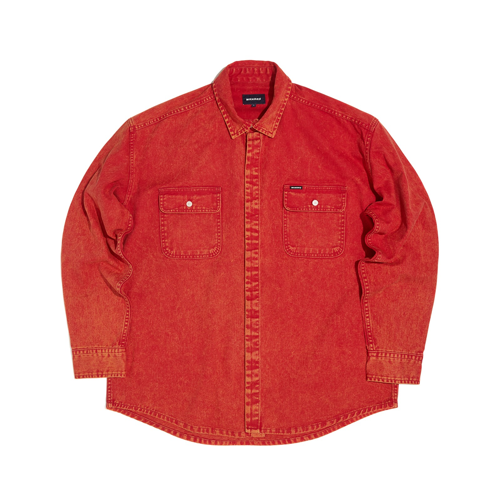 SNOW WASH COTTON SHIRT (RED)