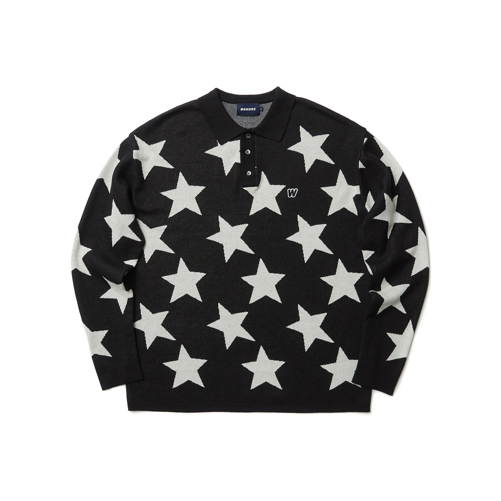 KNITTED STAR POLO SHIRT (BLACK)